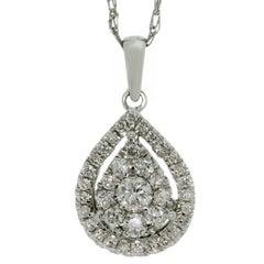 Mosaic Setting Diamond Pendant White Gold Necklace