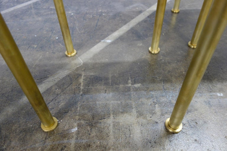 Mosaic Side or End Tables with Brass Frame For Sale 4