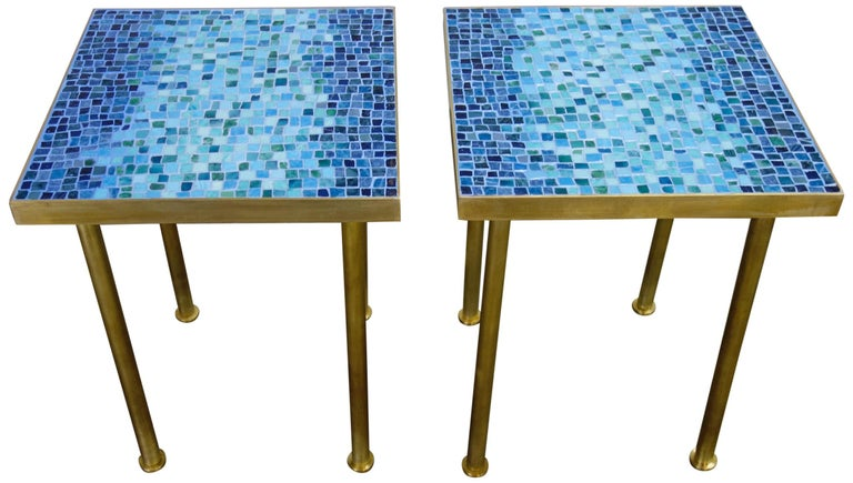Mid-Century Modern Mosaic Side or End Tables with Brass Frame For Sale