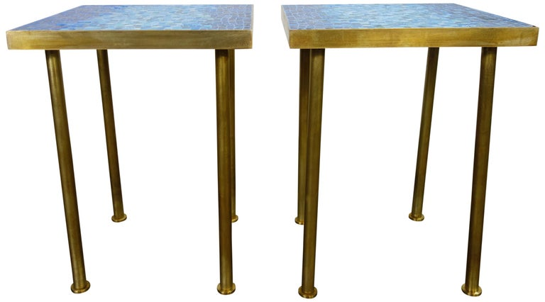 American Mosaic Side or End Tables with Brass Frame For Sale