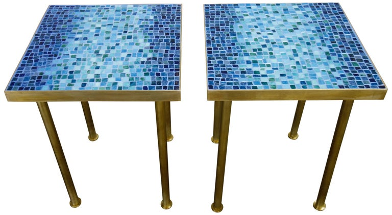 Mosaic Side or End Tables with Brass Frame In Good Condition For Sale In BROOKLYN, NY