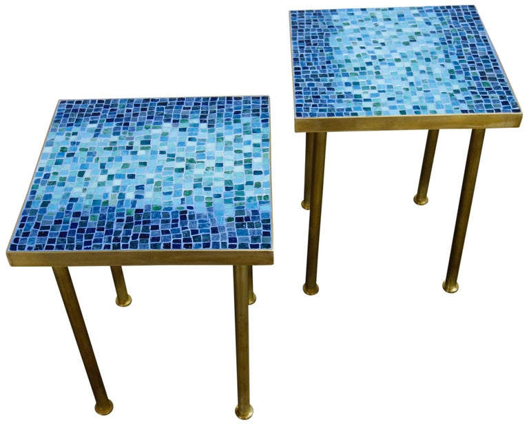 20th Century Mosaic Side or End Tables with Brass Frame For Sale
