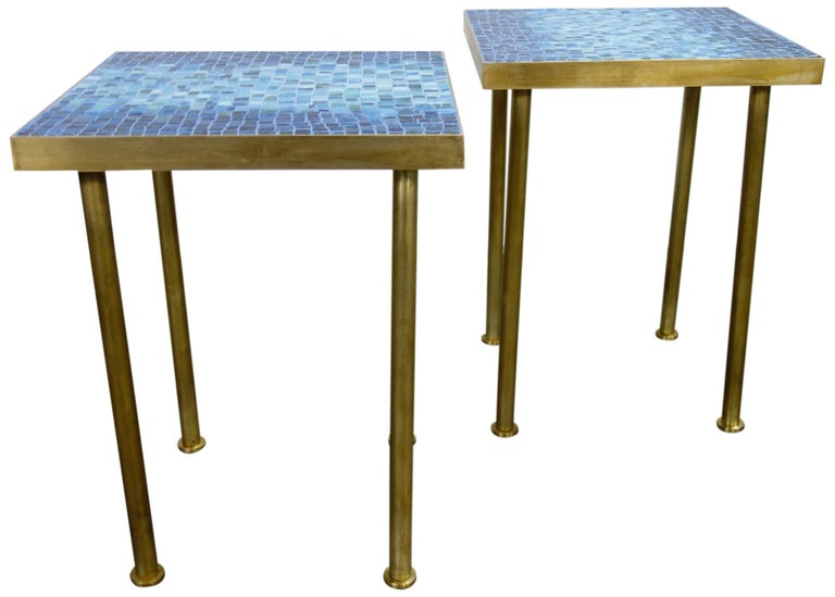 Mosaic Side or End Tables with Brass Frame For Sale 1