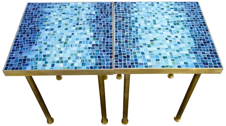 Mosaic Side or End Tables with Brass Frame For Sale 2
