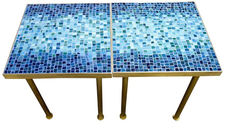 Mosaic Side or End Tables with Brass Frame For Sale 3