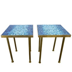 Mosaic Side or End Tables with Brass Frame