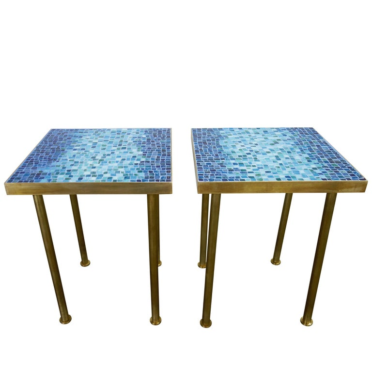 Mosaic Side or End Tables with Brass Frame For Sale