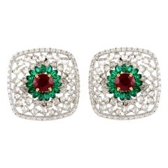 Mosaic Style Diamond Emerald and Ruby Studs in 18 Karat White Gold