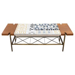 Mosaic Tile and Teak Coffee Table, 1950s