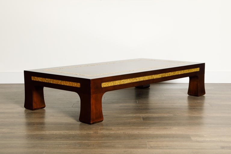 Mid-Century Modern Mosaic Tile Coffee Table by Edward Wormley for Dunbar, circa 1950s, Signed For Sale