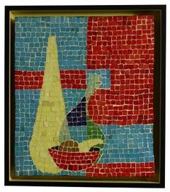 Mosaic Tile Still Life Mounted on Panel 1950's-1960's