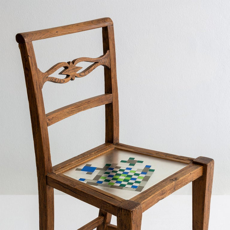 Mosaiced Chair in Chestnut Wood with Mosaic Seat by Hillsideout In New Condition For Sale In Milan, IT