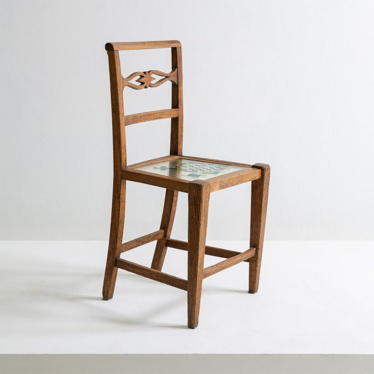 Contemporary Mosaiced Chair in Chestnut Wood with Mosaic Seat by Hillsideout For Sale