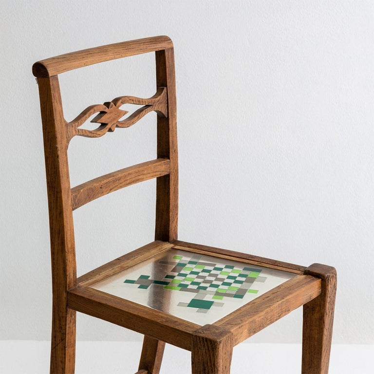 Mosaiced Chair in Chestnut Wood with Mosaic Seat by Hillsideout For Sale 3