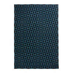 Mosaik Teal, Modern Dhurrie/Kilim Rug in Scandinavian Design