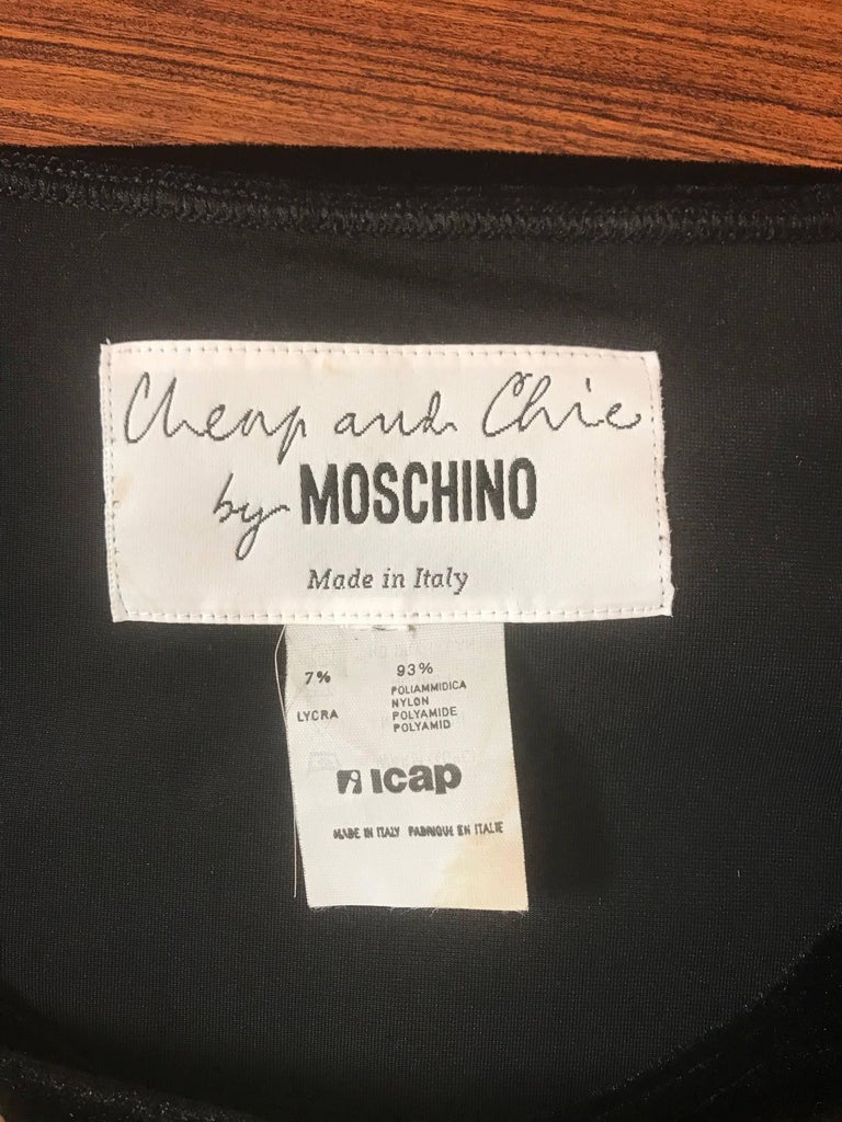 Moschino 1980s Cheap & Chic Black Velour Not Just A Pretty Dress with Gold Studs For Sale 1