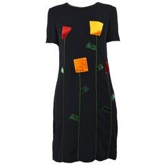 Moschino 1990s Black Crepe & Velvet Tulip Applique Vintage Cocktail Shift Dress