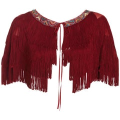 Moschino 1990s Vintage Embroidered Tassel Fringe Tie Cape Top
