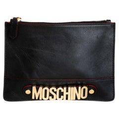 Moschino 30th Anniversary Black Leather Clutch