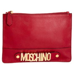 Moschino 30th Anniversary Red Leather Clutch