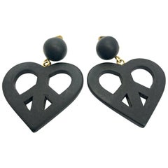 Moschino 90s Oversized Black Heart Clip on Earrings