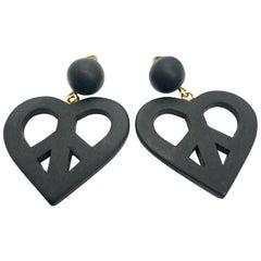 Moschino 90s Oversized Black Heart Clip on Earrings