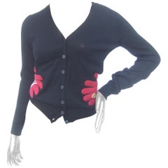 Moschino Avant Garde Italian Black Wool Knit Glove Design Cardigan c 1990s
