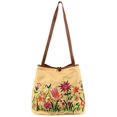 8eec4f8db8 MOSCHINO Beige Floral Embroidered Canvas & Tan Leather Handbag