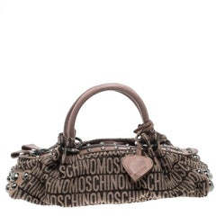 Moschino Beige Signature Canvas and Leather Studded Satchel