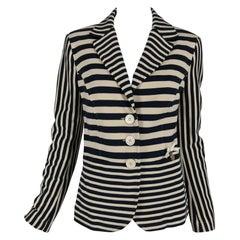 Moschino Black and Off White Stripe Jacket