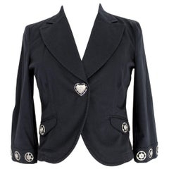 Moschino Black Cotton Jeans Jacket Studs Button Heart Shape 1990s 3/4 Sleeves