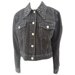 Moschino Black Denim Forever with Crystal swarovski Jacket