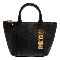 Moschino Black Grain Leather Side Logo Detail Tote