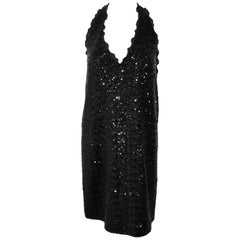 Moschino Black Sequined Halter Short Cocktail Dress US 10