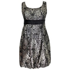 Moschino Black Lame Floral Sleeveless Sheat Evening Dress 1990s