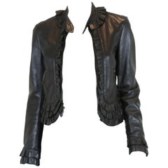 Moschino Black Leather Cropped Jacket with Ruffle Trim