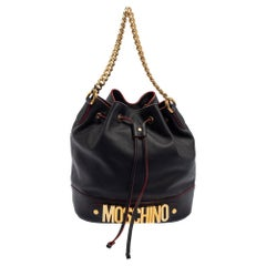 Moschino Black Leather Drawstring Bucket Bag