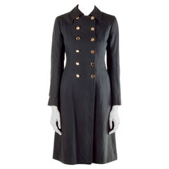 Moschino Black Linen Gold Button Detail Trench Coat M