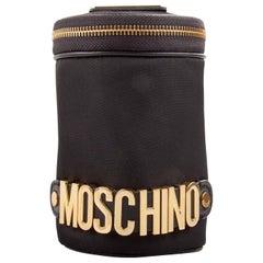 Moschino Black Nylon Logo Embellished Round Clutch