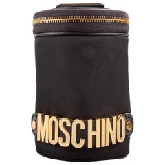 Moschino Black Nylon Logo Embellished Round Clutch
