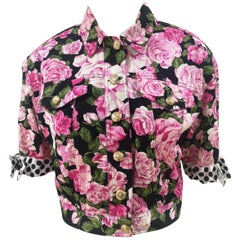 Moschino black pink roses cotton jacket