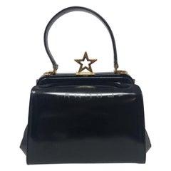 Moschino Black Polished Leather Star Bag Vintage
