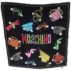 Moschino black silk scarf - foulard
