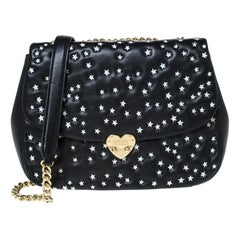 Moschino Black Star Embroidered Leather Flap Heart Lock Chain Bag