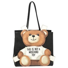 Moschino Black Textured Faux Leather Teddy Bear Tote