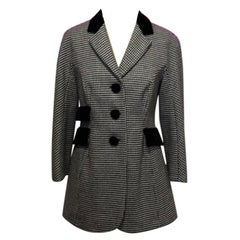 Moschino Black White Houndstooth Wool Blazer