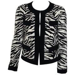 MOSCHINO Black & white tiger print cardigan jacket