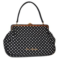 Moschino Black with White Polka Dot and Gilded Gold Hardware Accent Handbag
