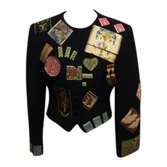 Moschino Black Wool Embroidered Jacket
