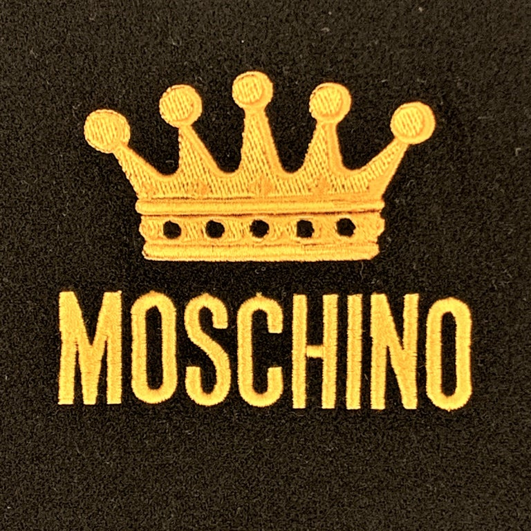 MOSCHINO Black Wool Yellow EMbroidered Crown Logo Fringe Scarf In Good Condition For Sale In San Francisco, CA